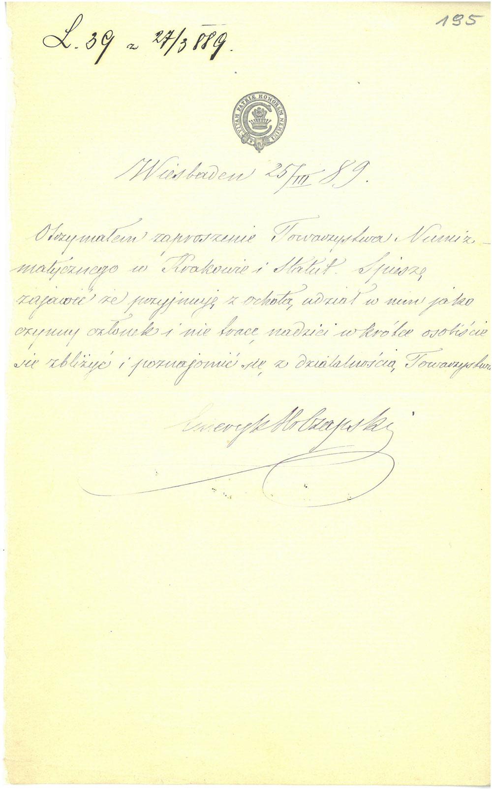 Czapski deklaracja członkowska