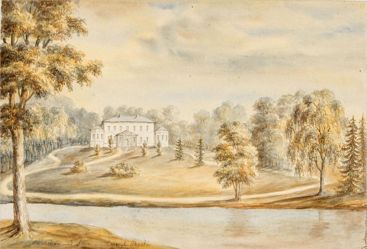 Pałac Emeryka Hutten-Czapskiego w Stańkowie, 1876 r., aut. Napoleon Orda, akwarela